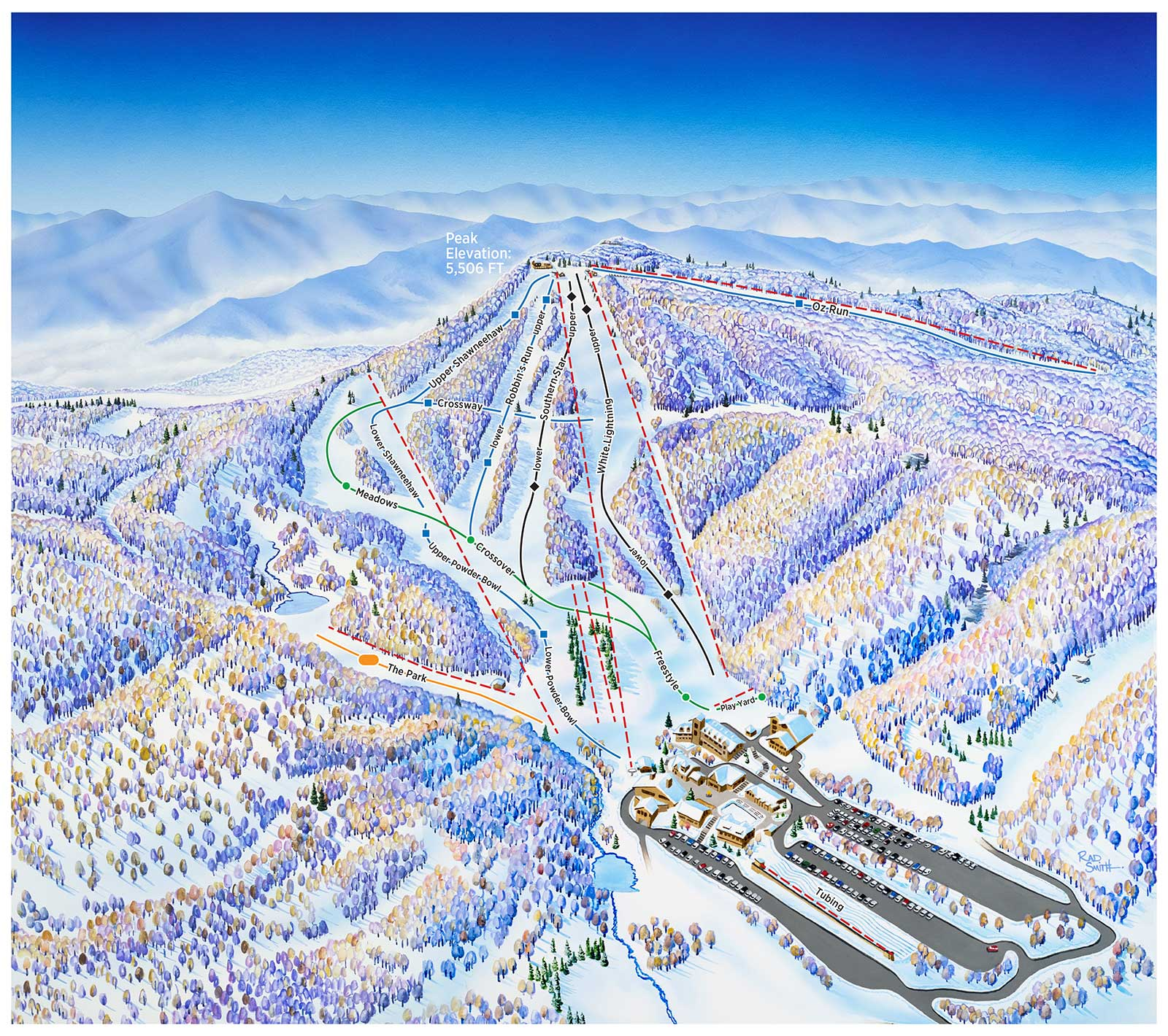 Skiing Virginia Map.Beech Mountain Ski Trail Map