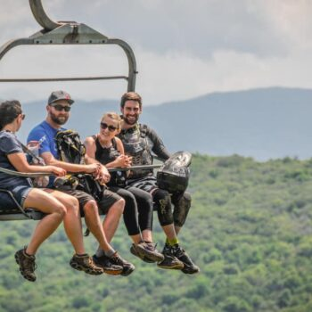 Family enjoying a scenic lift ride at Beech Mountain Resort