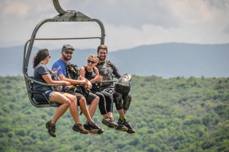 Family enjoying a scenic lift ride at Beech Mountain Resort