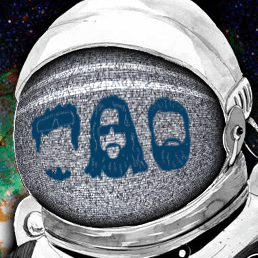 Space suit with the outline of three mens face in the helmet.