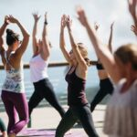 People practicing yoga at the 5506' SkyBar.