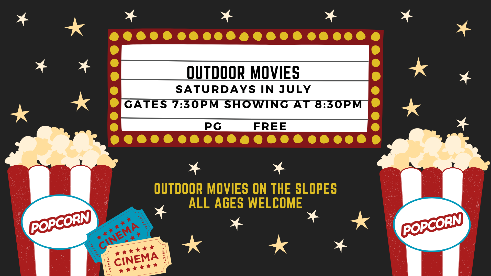outdoor movie art for free movies under the stars