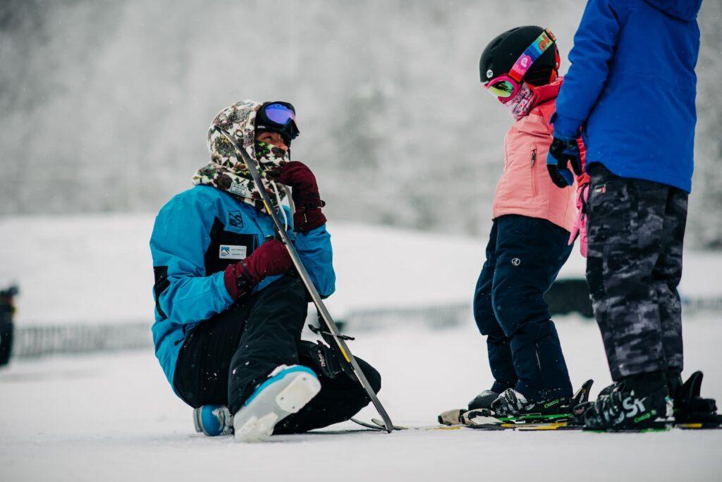 Teacher with kids on Beech Mountain
